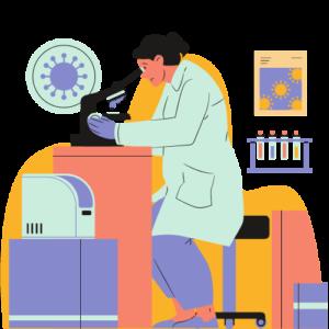 female scientist graphic looking through microscope
