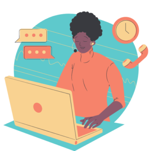 female staff graphic - woman working with a laptop and phone headset