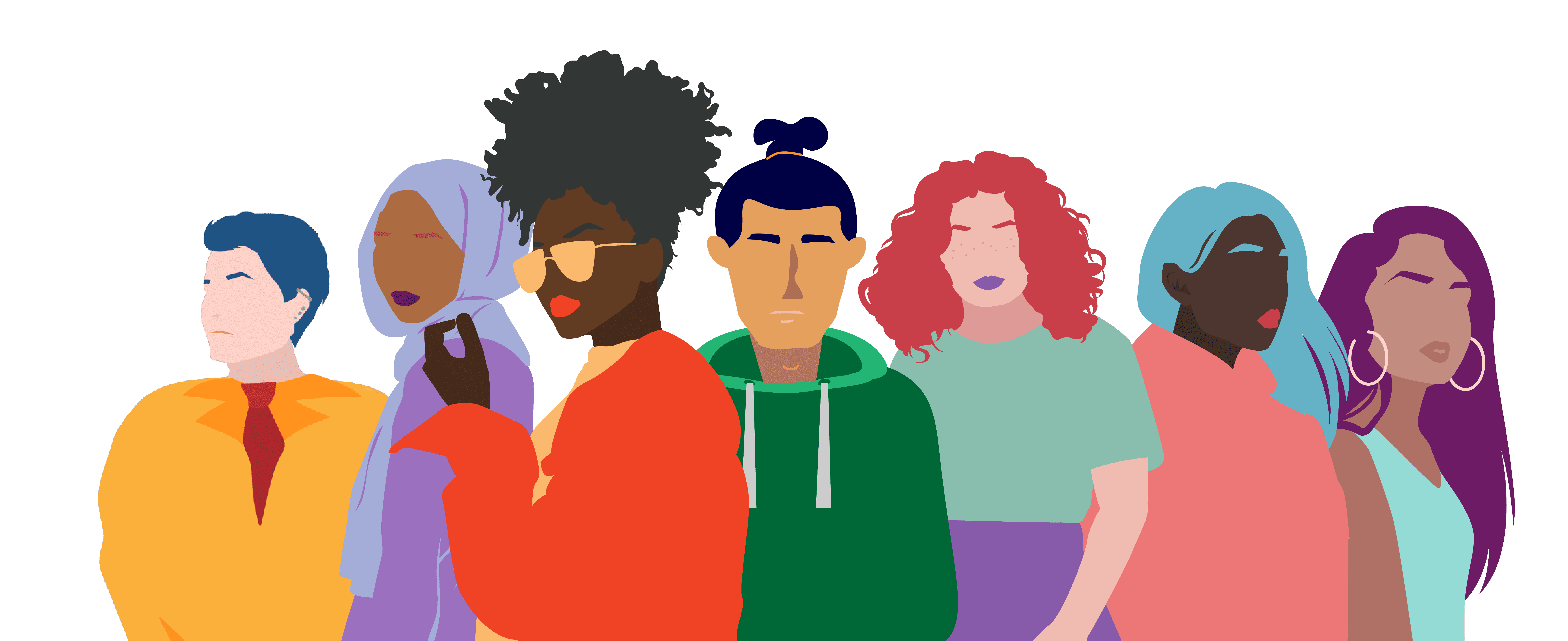 Graphic of a diverse group of people: header image