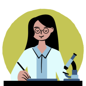 icon of student studying next to microscope with green background