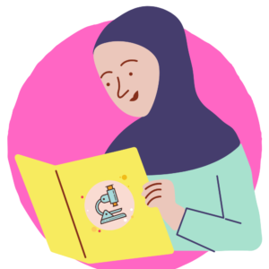student reading science book in hijab