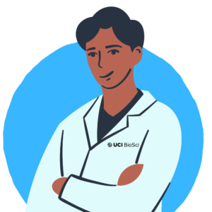 icon of male research student in white coat with blue background