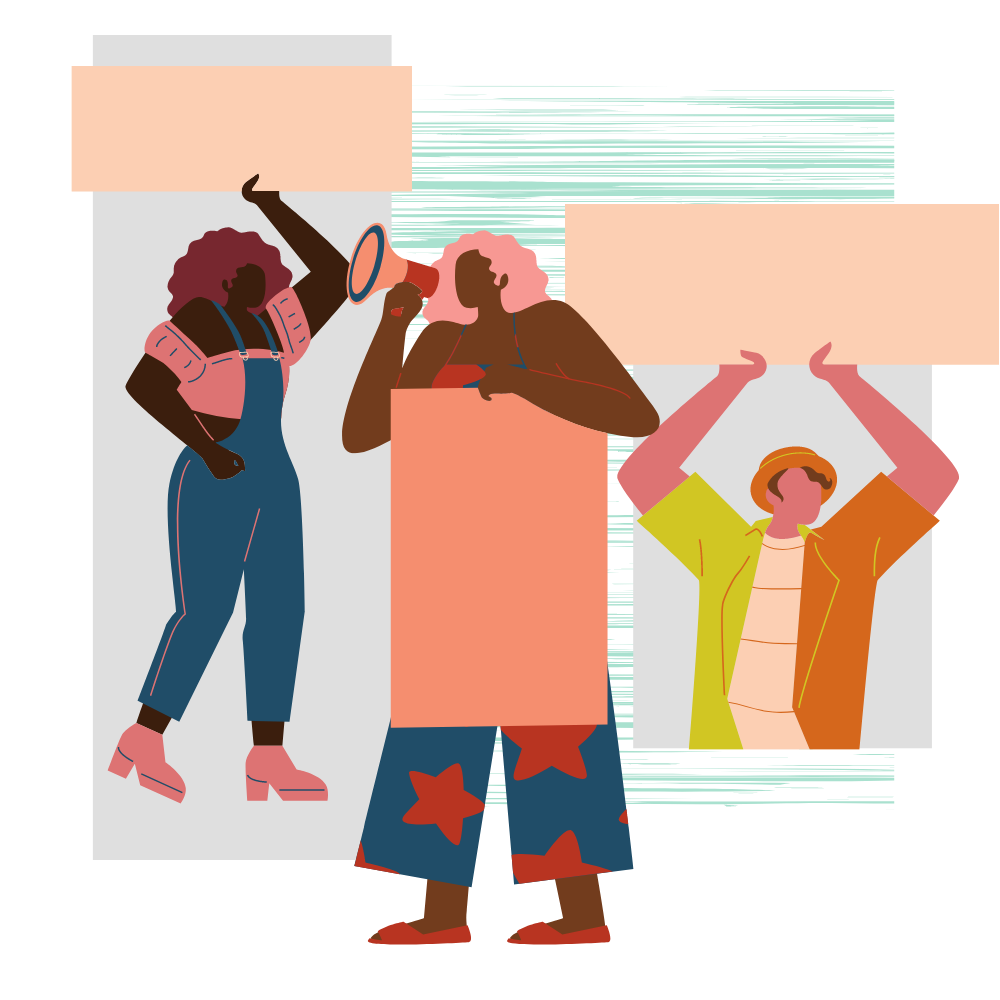 graphic of 3 people holding signs and megaphones