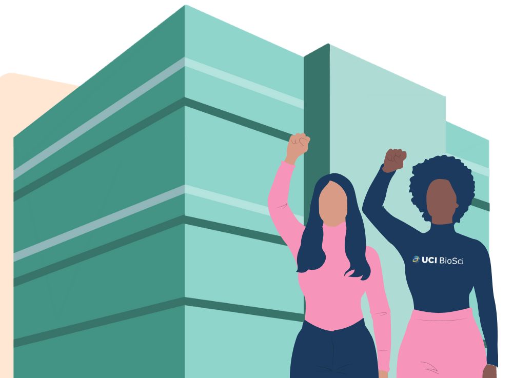 Graphic of 2 women standing in front of the UC Irvine building, McGaugh Hall, with fists pumped up in the air.