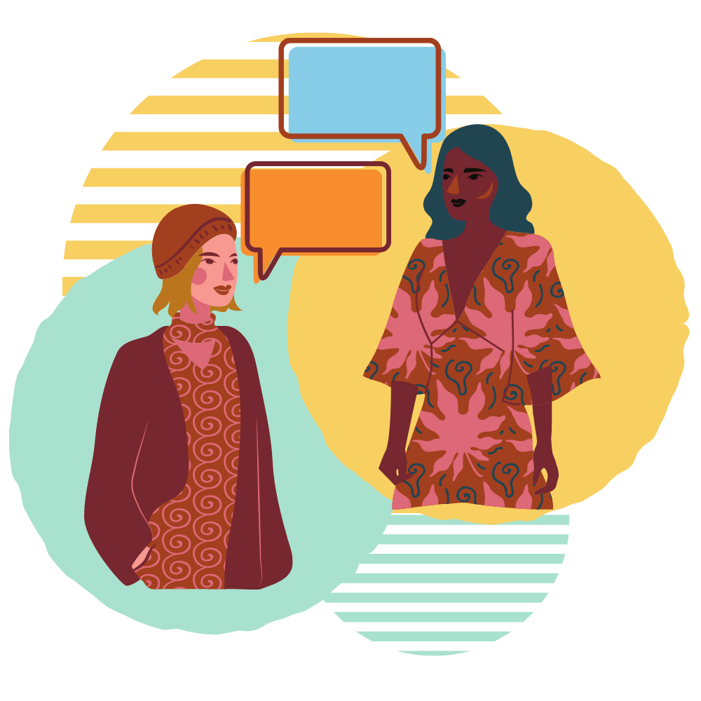 Graphic of 2 women talking with chat bubbles