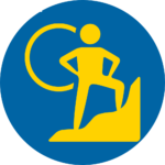 Blue and yellow circle courage icon - confident person on mountain