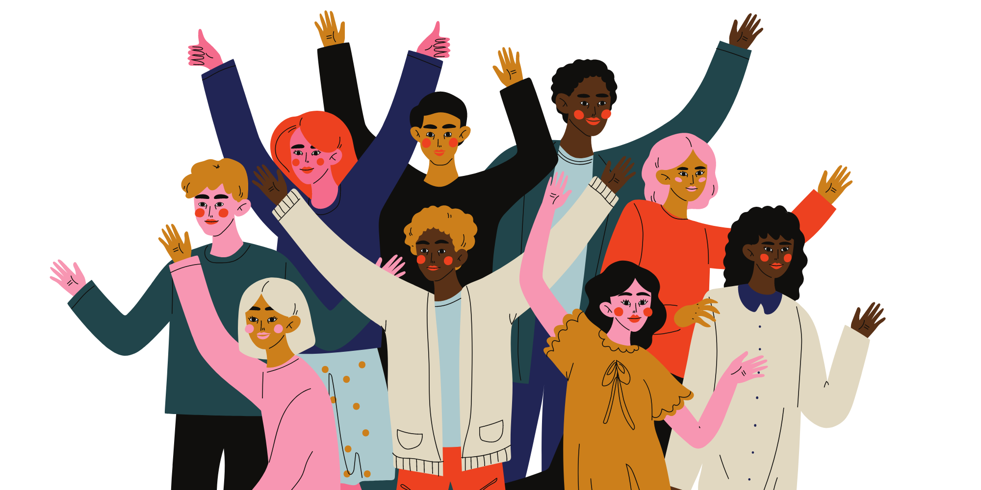 Graphic diversity image - 9 diverse happy people with hands up