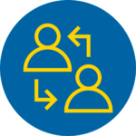 Blue and yellow circle engagement icon - 2 people reciprocal arrows