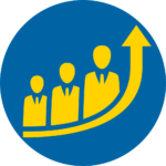 Blue and yellow circle excellence icon - 3 people with upward arrow