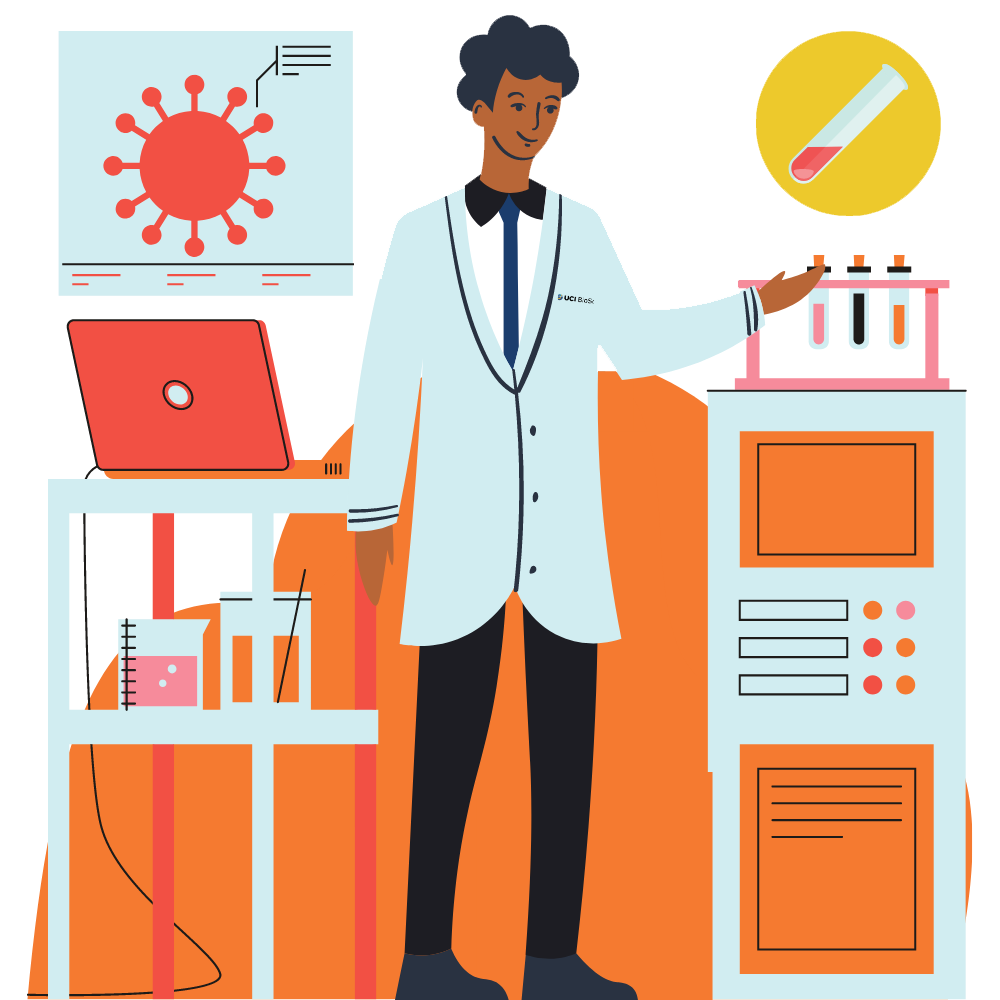 graphic of BioSci student in a lab