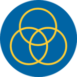 Blue and yellow circle inclusion icon - 3 circles overlapping