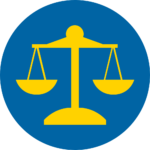 Blue and yellow circle integrity icon - equal scales