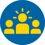 Blue and yellow circle leadership icon - 3 figures, middle figure with halo.