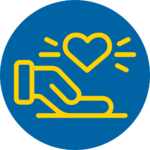 Blue and yellow circle respect icon - hand holding heart