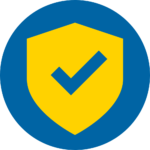Blue and yellow circle safety icon - shield with check mark in the middle