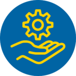 Blue and yellow circle service icon - hand holding gear