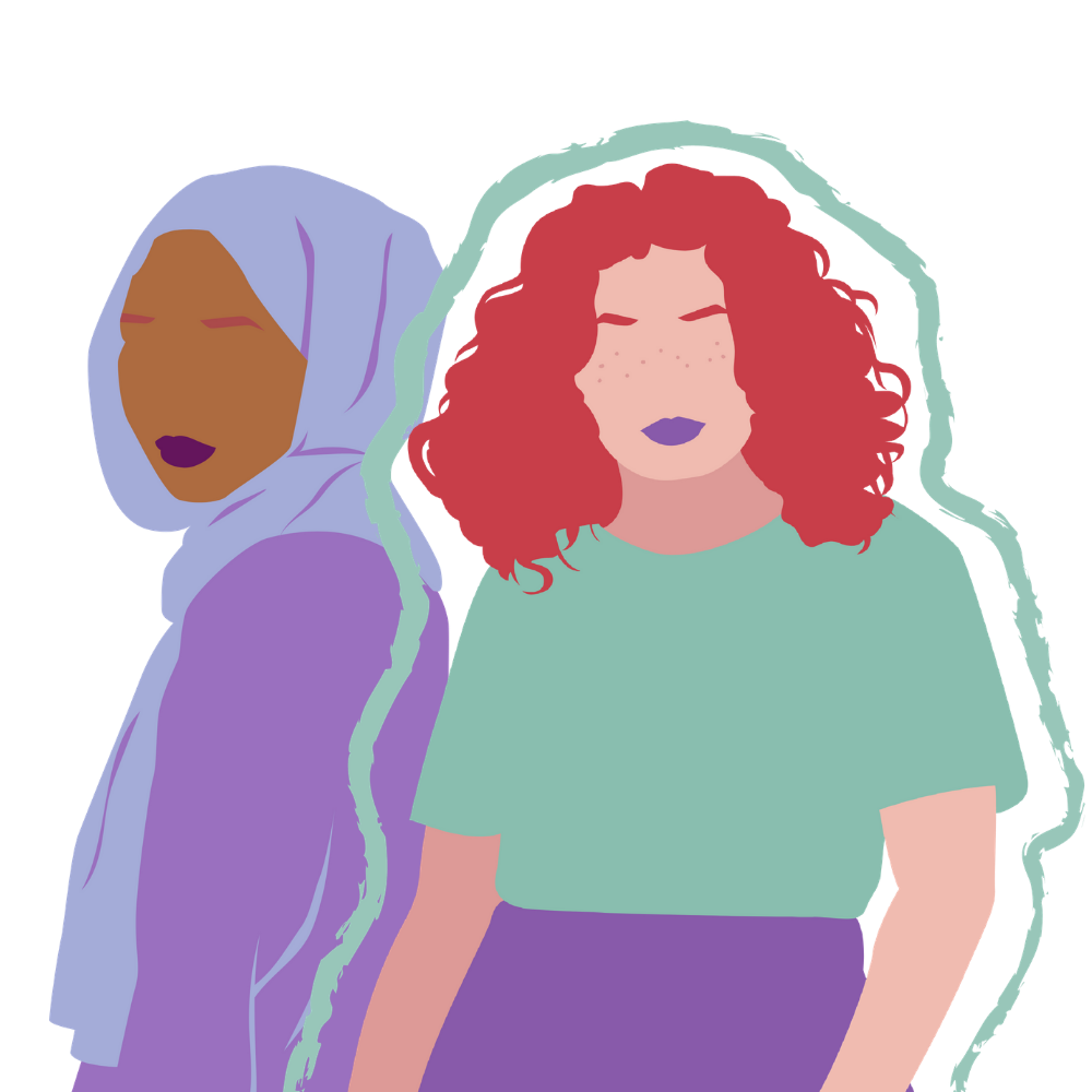 Two graphic women standing together. The women on the left is wearing a purple hijab and the women on the right has red hair and freckles, is wearing a green top, and is outlined in a mint green paintbrush like stroke.