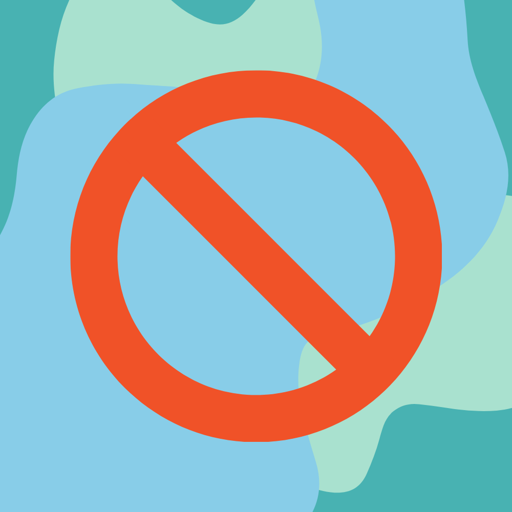 Red cancel icon with blue and green background.