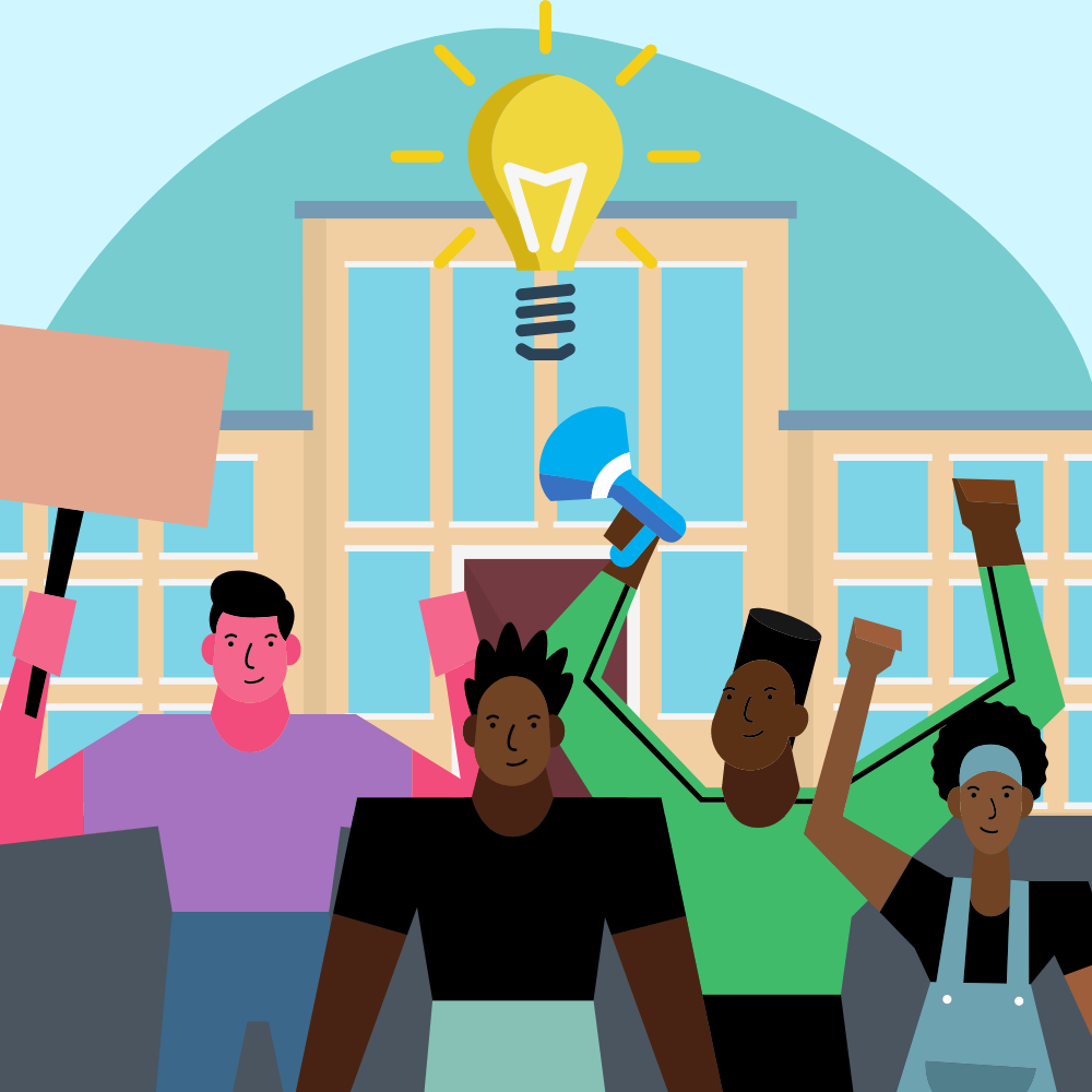 Four people in front of school building with lightbulb at the top.