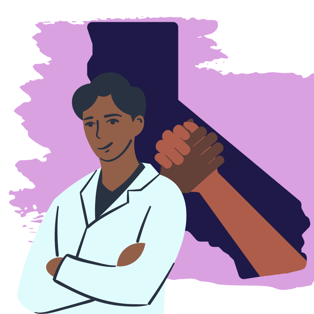 CAMP Graphic: Male doctor in front of CA state outline