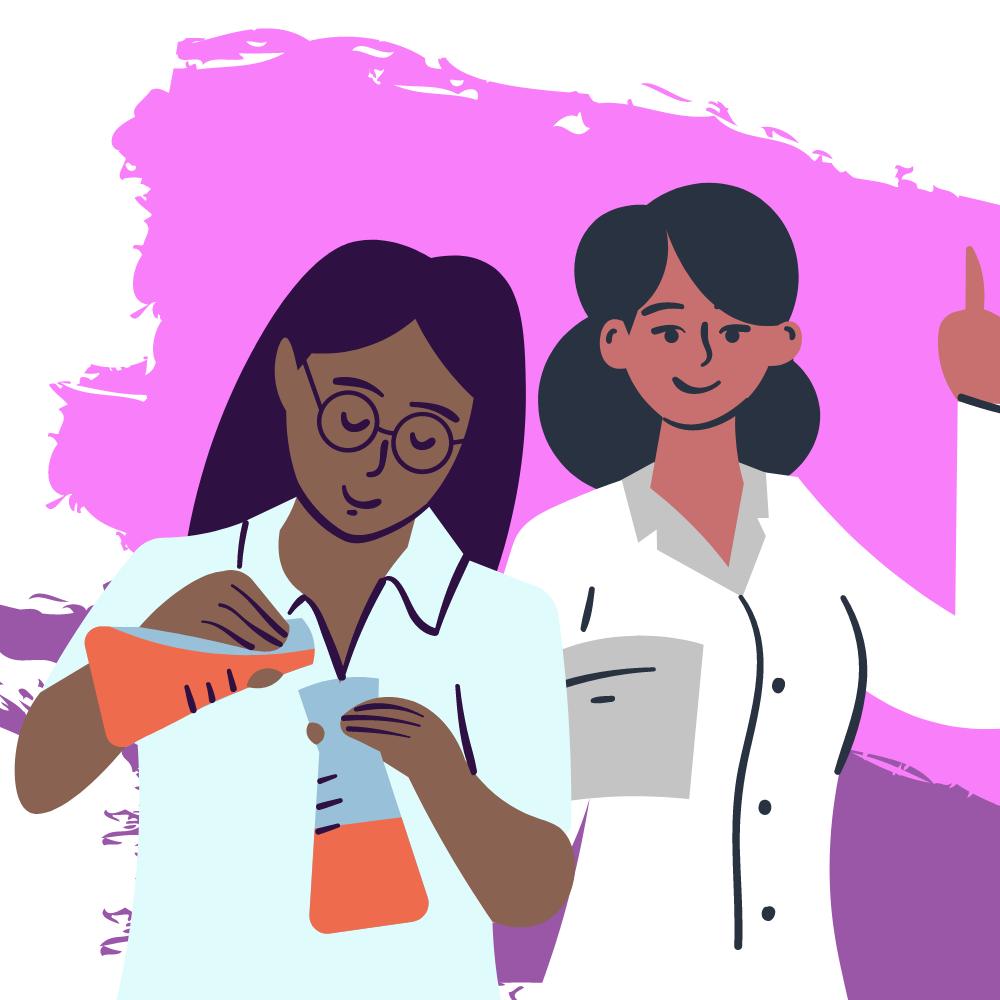 DECADE Graphic: 2 female scientists