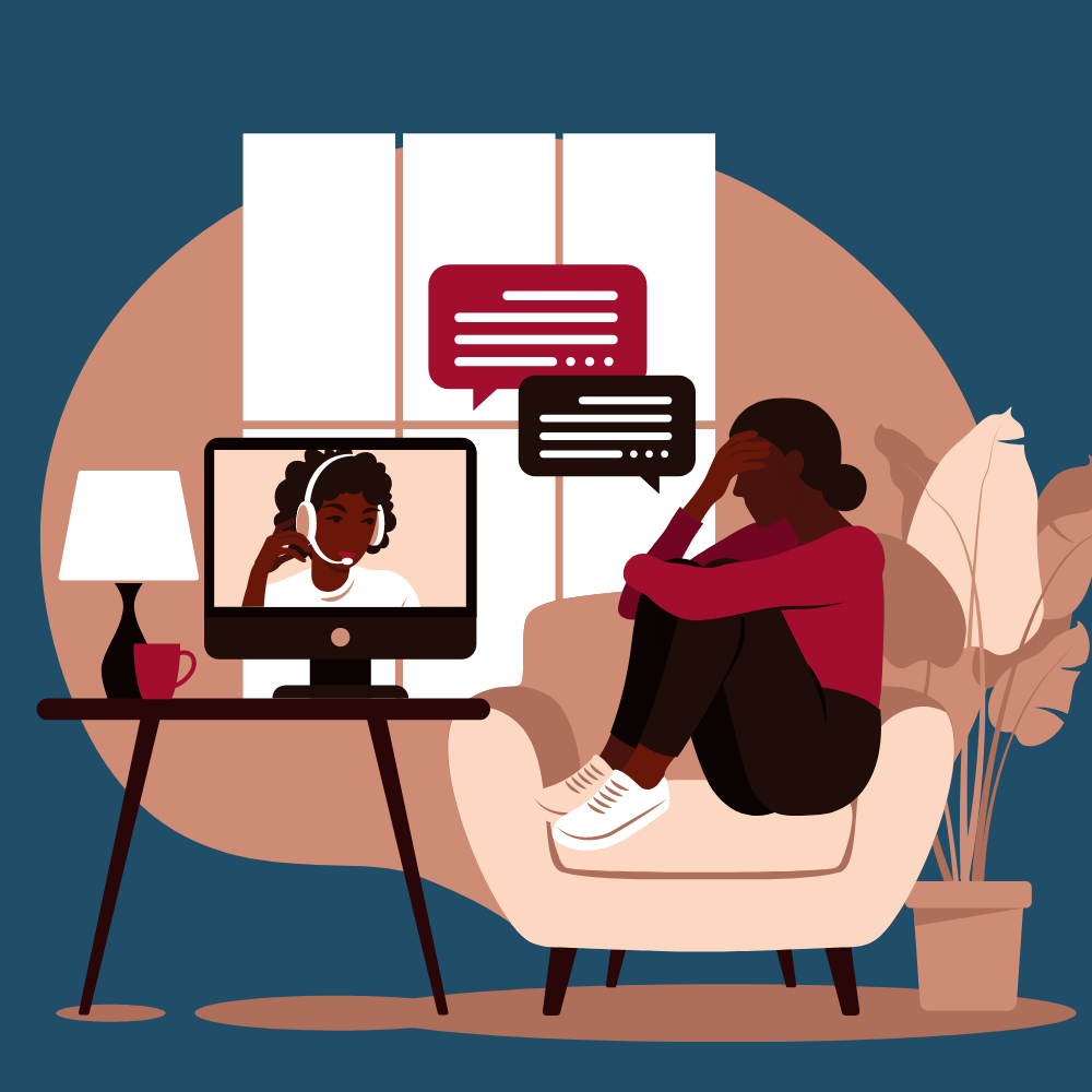 Two women talking over video call with chat bubbles.