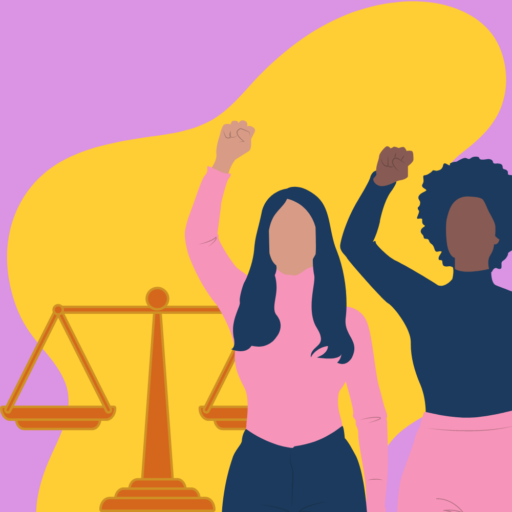 Two women with fists up and equality scale in the background.