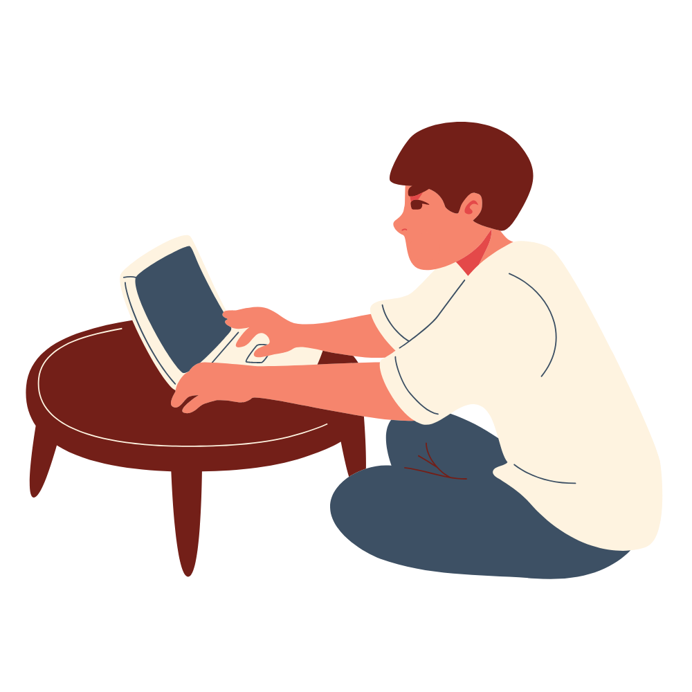 Graphic image of a man sitting on the floor in front of a coffee, looking and typing on a laptop.