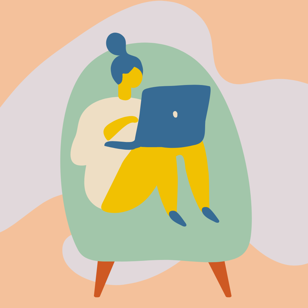 Woman sitting on chair with laptop in lap.