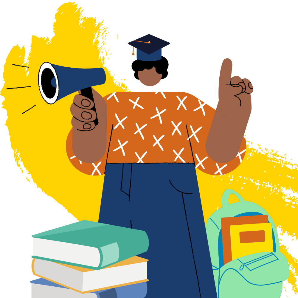 PROMISE Graphic: student with megaphone, school books, and a backpack.