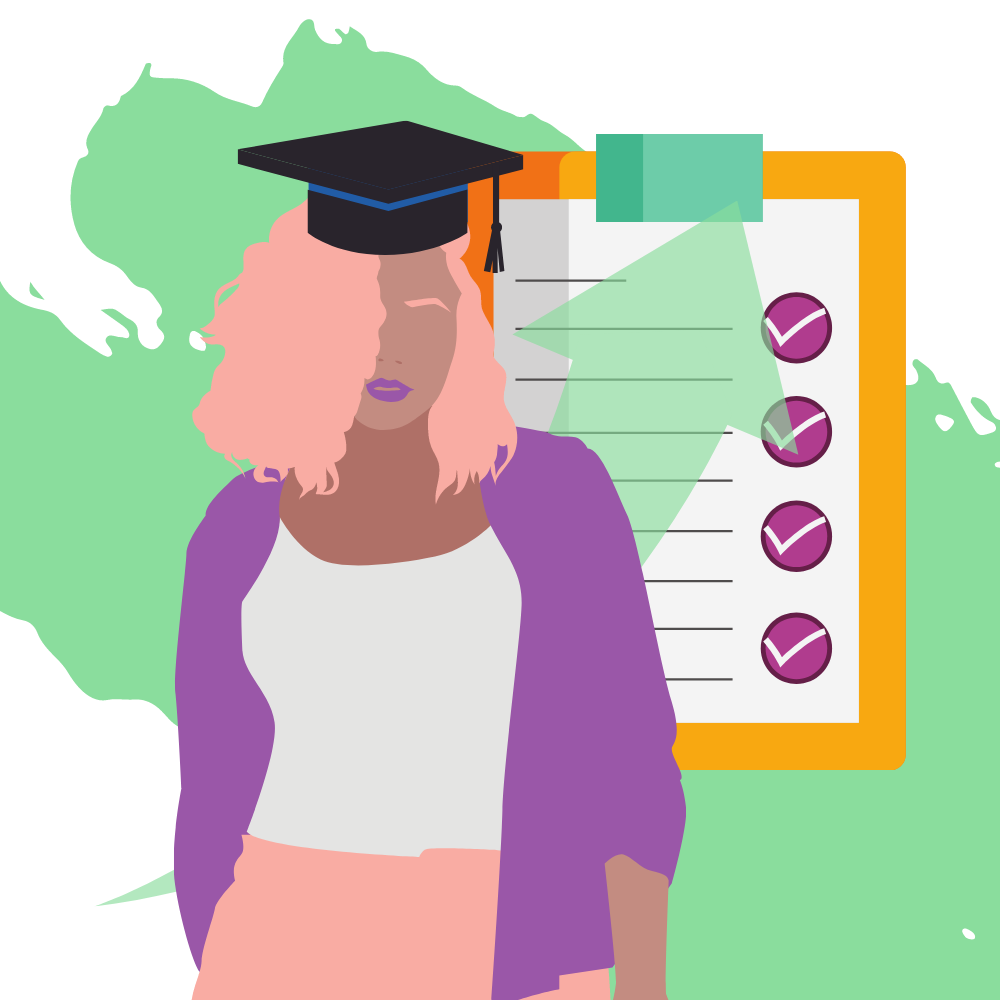 SAGE Scholars: Graphic of female graduate with success icons in background