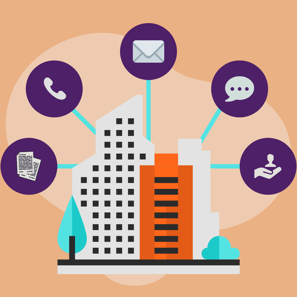 Building with 5 icons indicating resources: submit a report, call, email, chat, support.