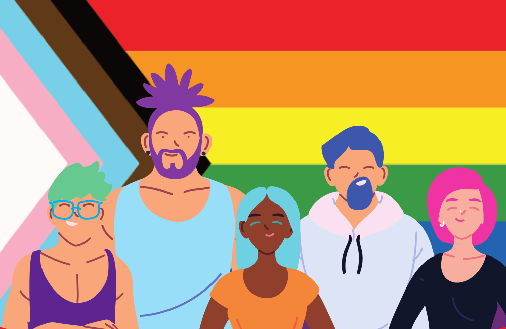 5 graphic diverse figures smiling and standing in front of the rebooted pride flag by Daniel Quasar.