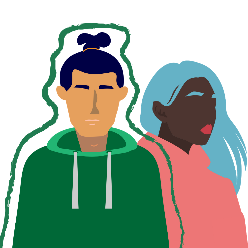 2 graphic figures standing together. The man on the left is Asian, wearing a green sweater, and outlined in a green paintbrush like stroke. The woman on the right is black, has blue hair, and is wearing a pink sweater.