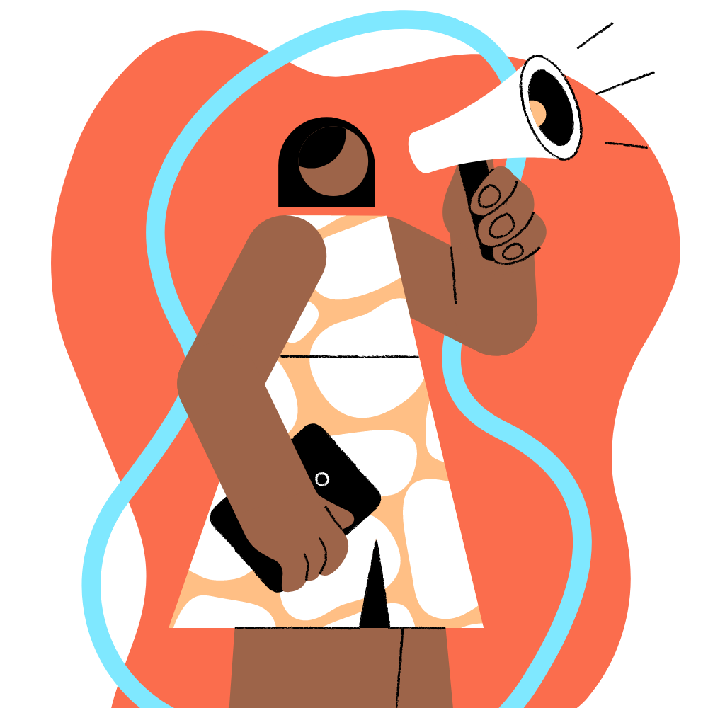 Submit feedback: person with megaphone